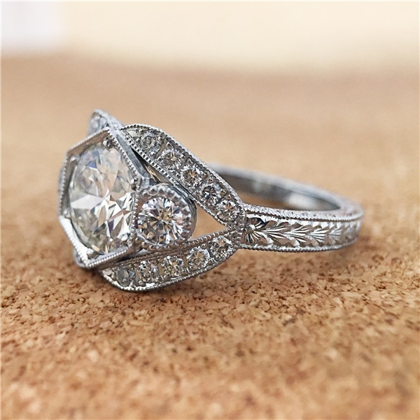 Platinum Vintage Diamond Engagement Ring, 1.30ct Old Euro Cut