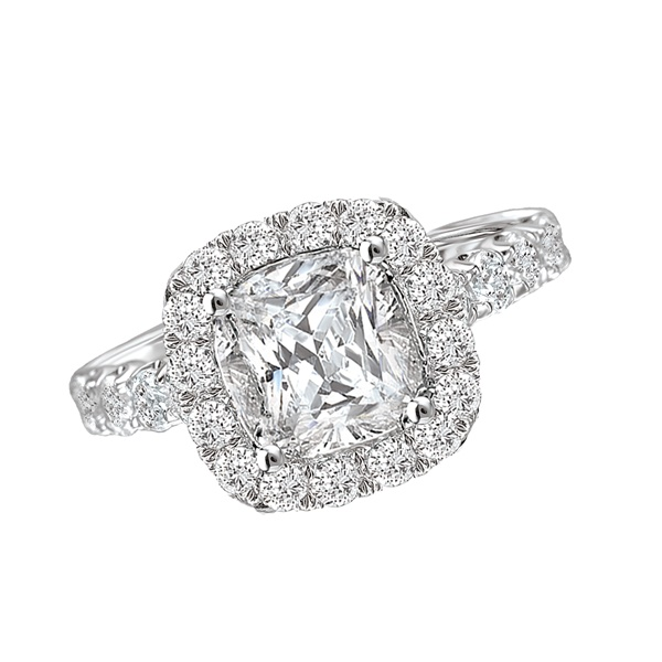 18K Cushion Cut Diamond Engagement Ring .80ctw Romance Collection