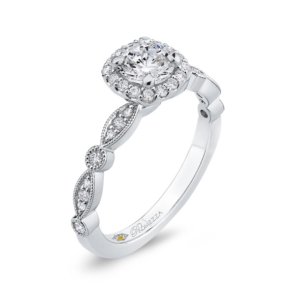 Promezza 14k White Gold ,Scalloped Design, Halo Diamond Engagement Ring