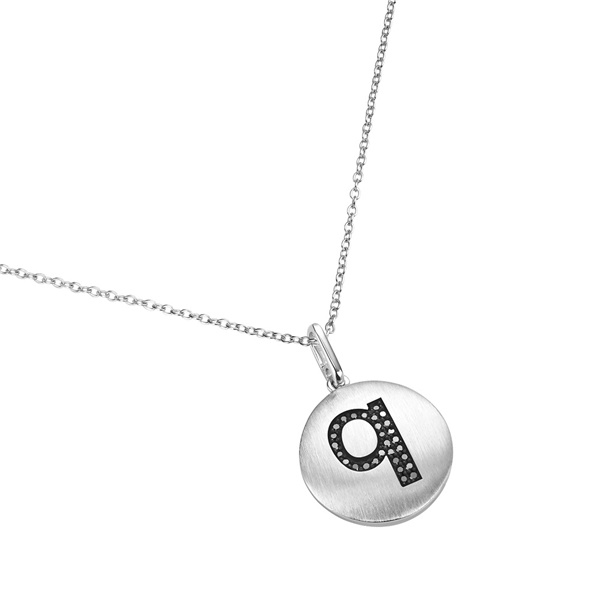 14K White Gold and Black Diamond Q Initial Pendant