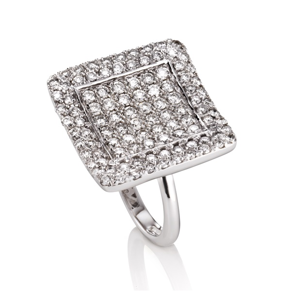 Diamond Pave Square Ring