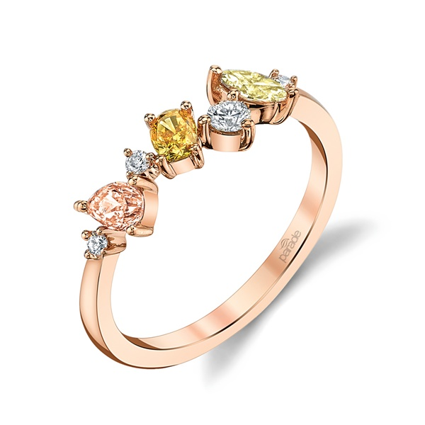 18kt Rose Gold and Fancy Colored Diamond Ring by Parade