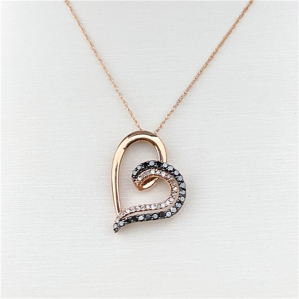 10k Rose Gold Black & White Diamond Heart Necklace