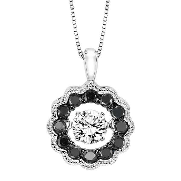 Rhythm Of Love Black & White Diamond Halo Necklace