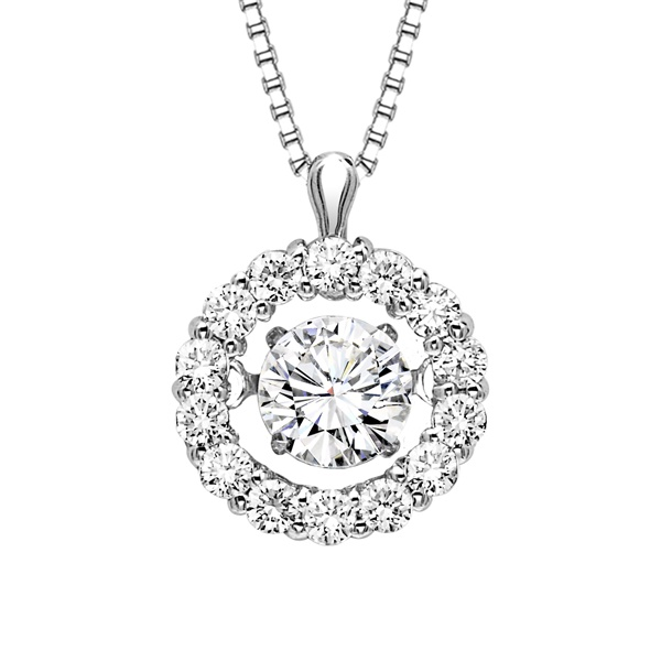 Rhythm of Love Diamond Necklace - Round Halo, 1/2 ctw