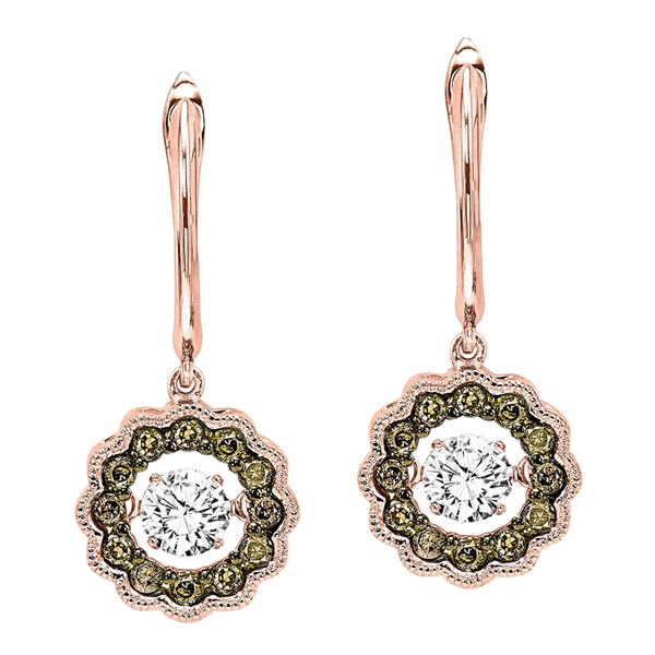 Rhythm Of Love Rose Gold, Cognac & White Diamond Earrings