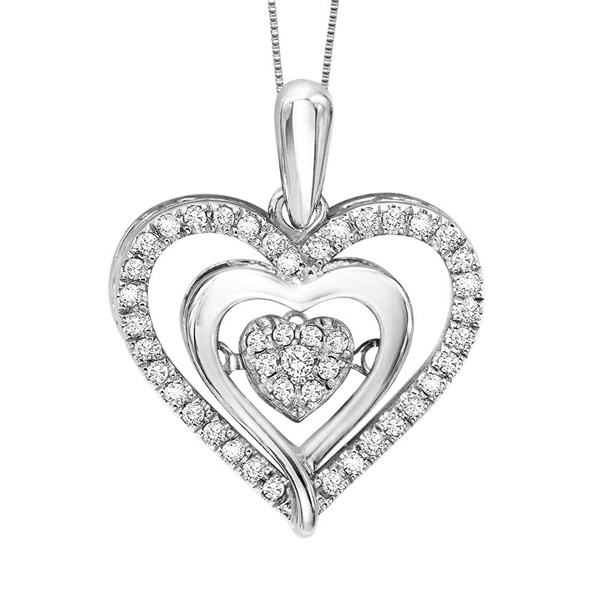 Rhythm of Love Diamond Heart Pendant, Sterling Silver and 10K White Gold - .20ctw