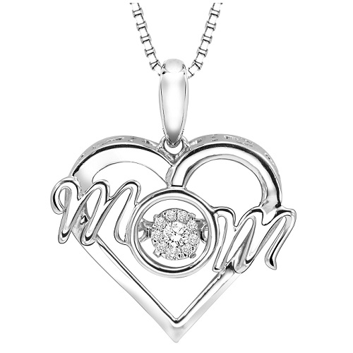 "Rhythm of Love Sterling Silver ""MOM"" Pendant with Diamonds"