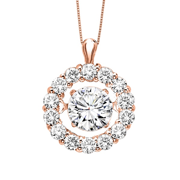 Rhythm of Love Diamond Halo Necklace, Rose Gold, 1/2 ctw
