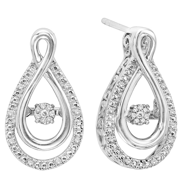 Rhythm Of Love Silver & Diamond Earrings