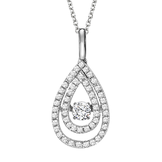 Rhythm of Love Diamond Necklace - Double Tear Drop