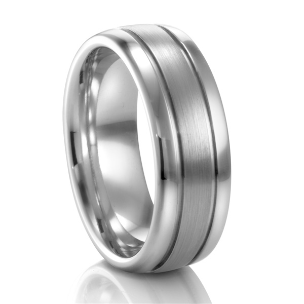 Palladium 8mm Ribbed Band