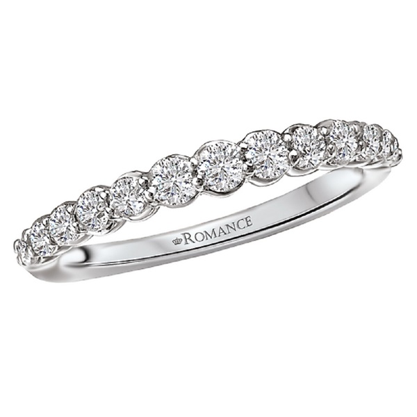 18kt White Gold and Graduating Diamond Wedding Band by Romance