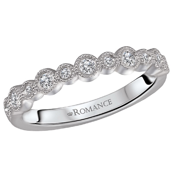18k White Gold and Diamond Wedding Band by Romance