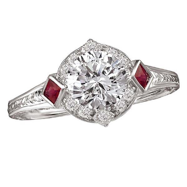 18kt White Gold, Diamond and Ruby Vintage Inspired Engagement Ring by Romance
