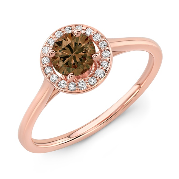 14K Rose Gold and Cognac Diamond Halo Ring