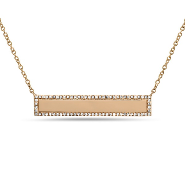 14K Yellow Gold Diamond Bar Necklace by Bassali