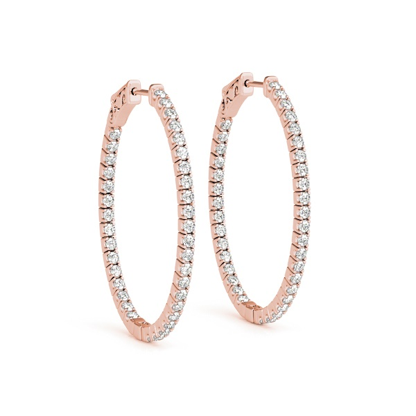 14K Rose Gold & Diamond Inside-Out Hoop Earrings