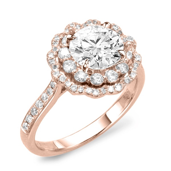 Rose Gold Flower Semi-Mount Engagement Ring