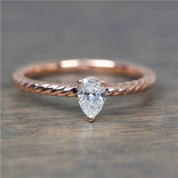 ZARA PEAR - Ladies 14K Rose Gold and Pear Shaped Diamond Ring