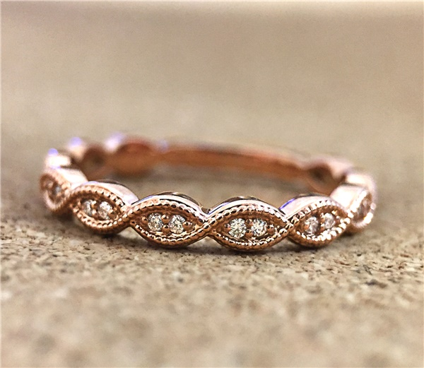 14K Rose Gold and Diamond Twist Wedding Band