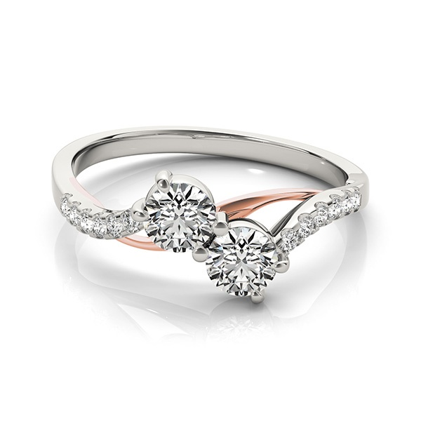 Nicole - Two Stone Diamond Ring with Rose Gold & White Gold
