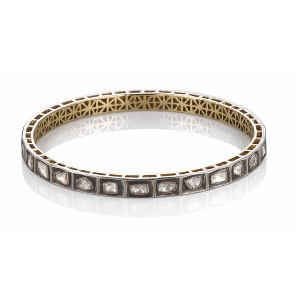 18kt Yellow gold, Oxidized Silver and Rough Cut Diamond Bangle