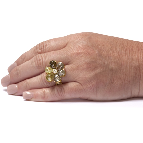 Rough Cut Diamond Flower Ring -13.19 ctw