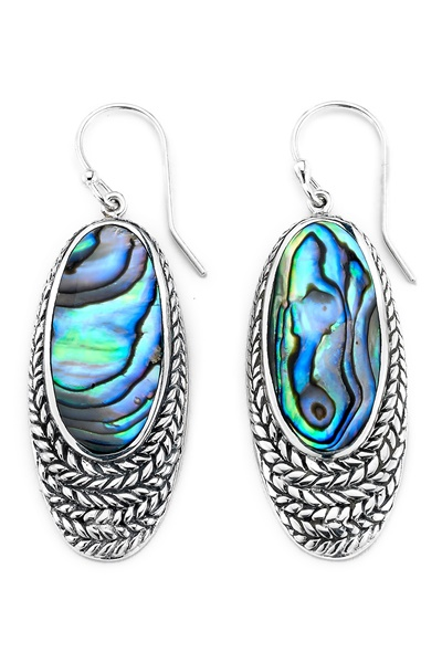 Sterling Silver and Abalone Earrings by Samuel B