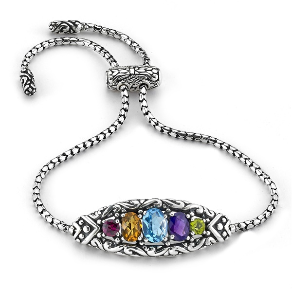 Samuel B. Sterling Silver and Gemstone Adjustable Bracelet