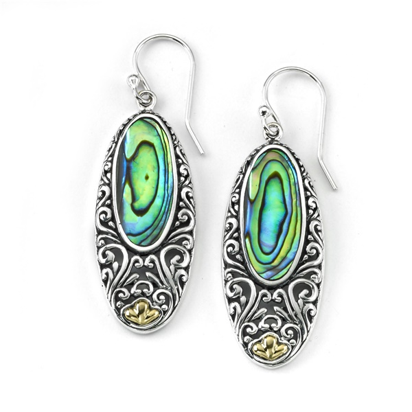 Sterling Silver , 18k Yellow Gold and Abalone Earrings by Samuel B