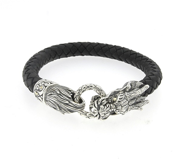 Samuel B Leather Dragon Bracelet