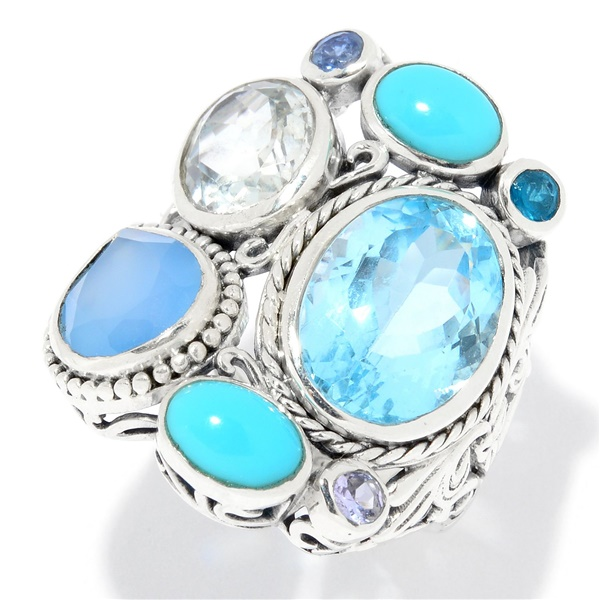 Sterling Silver Multi-Gem Ring by Sameul B
