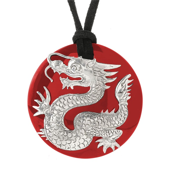 Sterling Silver and Red Coral Dragon Necklace by Samuel B