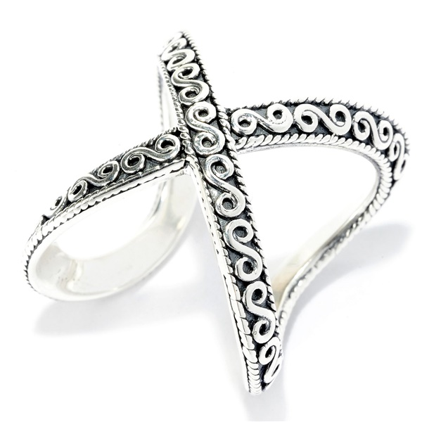 Samuel B Scroll Design Cross Over Ring