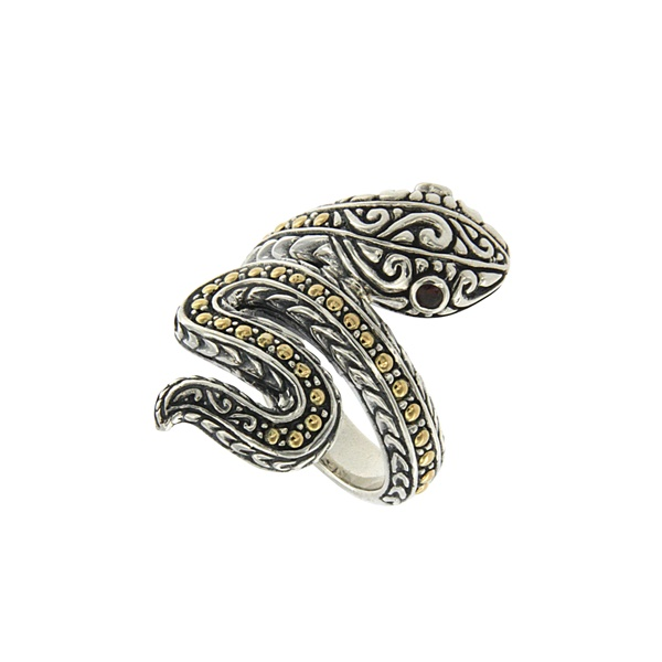 Sterling Silver, 18k Yellow Gold and Garnet Snake Ring by Samuel B