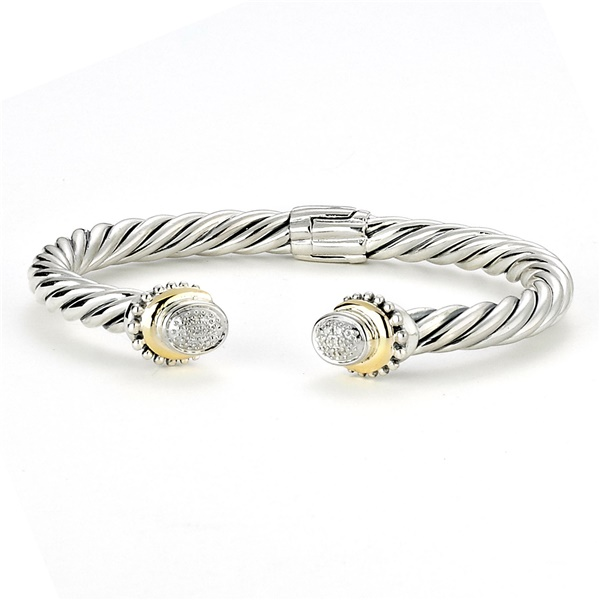 Sterling Silver and  18k Yellow Gold Bracelet by Samuel B