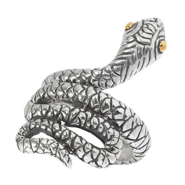 Sterling Silver and 18k Yellow Gold Snake Ring by Samuel B