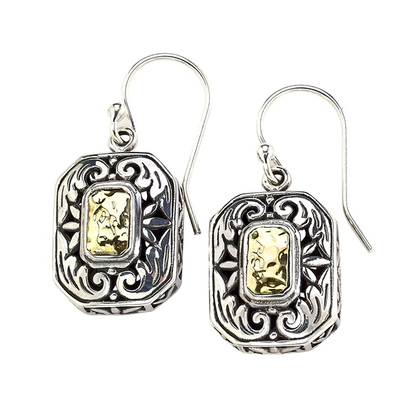 Sterling Silver and 18k Yellow Gold Earrings by Samuel B