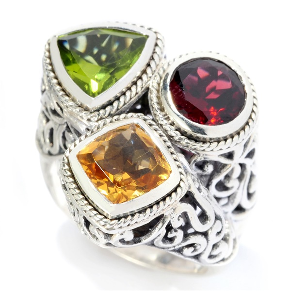 Samuel B Three Stone Autumn Ring