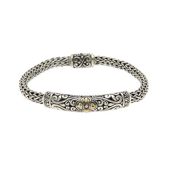 Sterling Silver & 18k Yellow Gold Balinese Design Bracelet by Samuel B