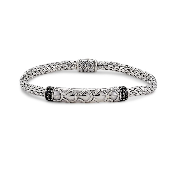 Sterling Silver & Black Spinel Tulang Naga Bar Bracelet by Samuel B