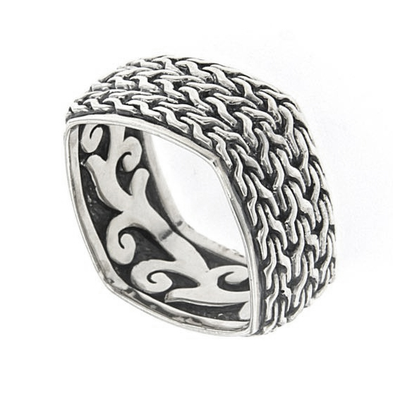 Samuel B Sterling Silver Interlocking Weave Design Ring