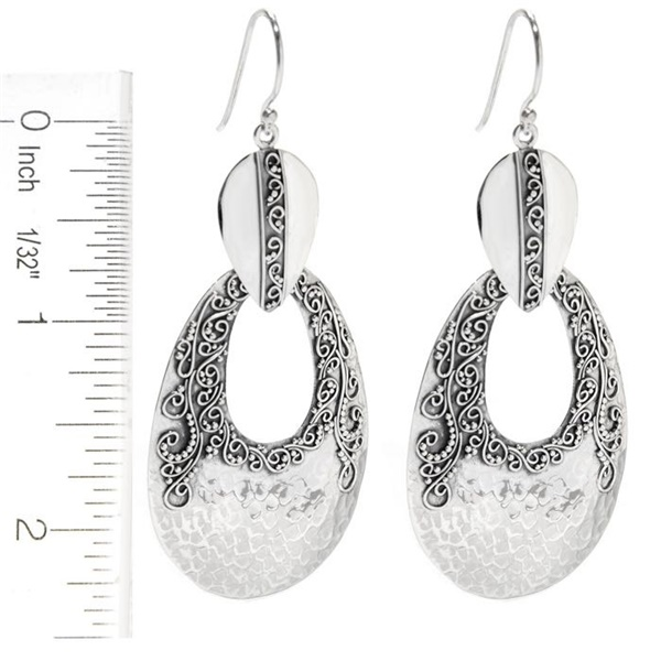 Sterling Silver Balinese Scroll Hammered Earrings