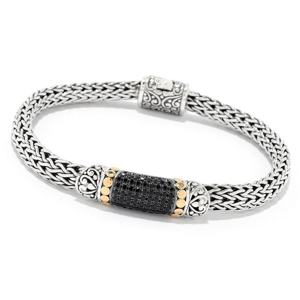 Samuel B Sterling Silver, 18k Yellow Gold & Black Spinel Bracelet