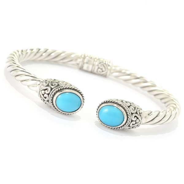 Sleeping Beauty Turquoise Sterling Silver Bangle by Samuel B