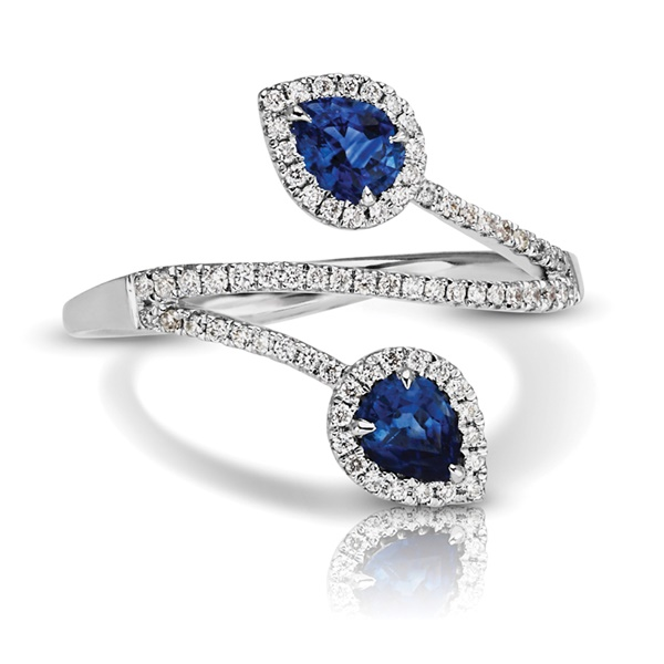 14K White Gold, Diamond and Pear Shaped Sapphire Ring
