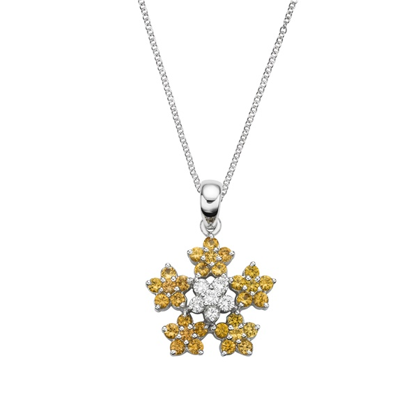Yellow Sapphire & Diamond Flower Necklace