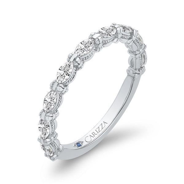 14kt White Gold and Diamond Wedding Band by Carizza