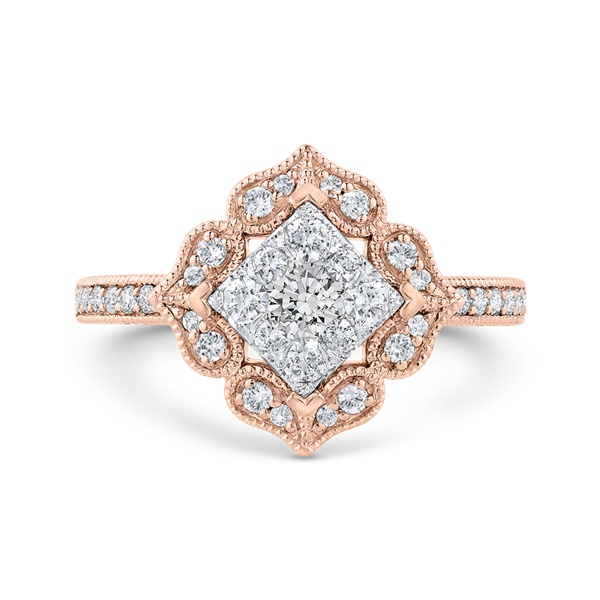Luminous Flower Shaped Halo Cluster Engagement Ring